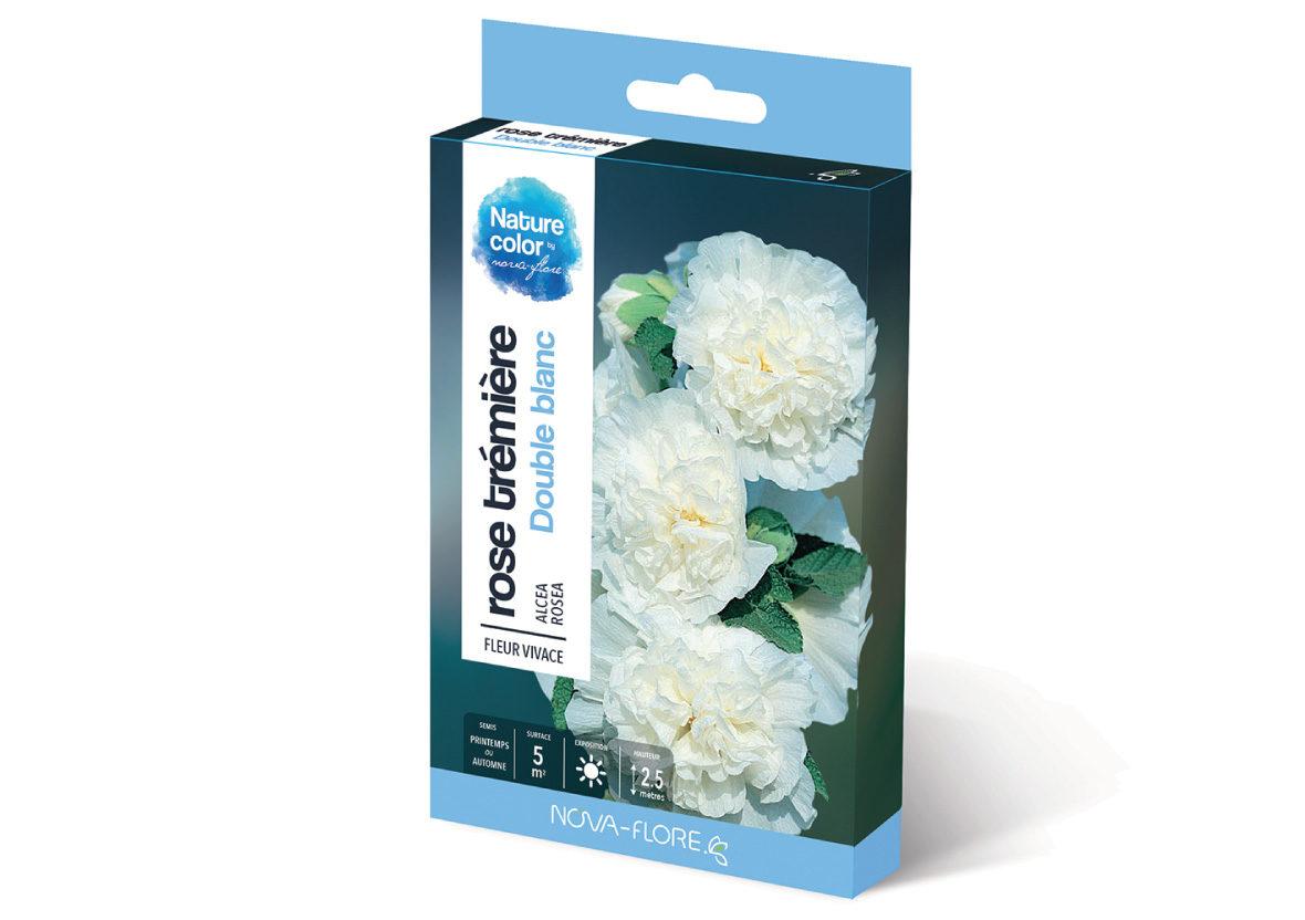 Graines de fleurs de rose tr mi re blanche nova flore jardin - Semer roses tremieres septembre ...